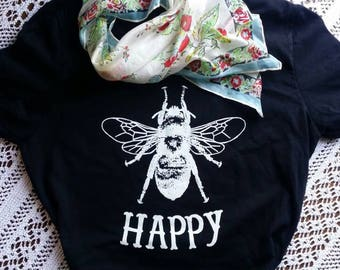 Ladies Bee Happy T-shirt/ Ladies top/ scoop neck/ slim fit/ Black T-shirt/ cap sleeve/ Bee/ Inspirational Gift/ Yoga/ Athletic wear/ Tunic/