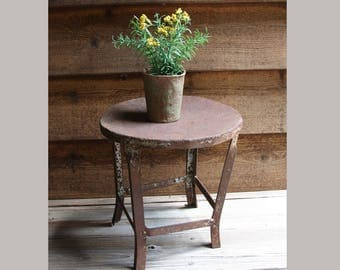 Vintage MILKING STOOL- Small Metal Seat Primitive Farm Chair- Shabby Chic Farmhouse Cow Milk Chair- Porch Outdoor Plant Stand