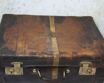 Antique LEATHER Suitcase with Initial Monogram- World Travel- Leather Goods Riveted Sides- Large Vintage Suitcase- Prop