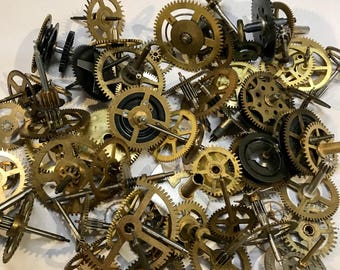 Vintage CLOCK GEARS- 12 Pieces Movements- Cogs- Steampunk Supply Altered Art- Repurposed Jewelry Supply- C25
