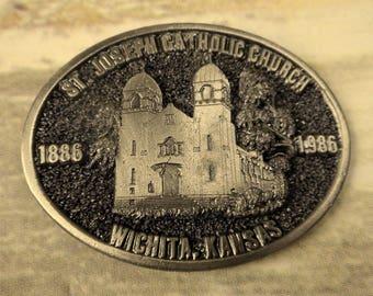 Catholic Church Wichita KS Belt Buckle St Joseph 1986 Vintage Kansas Limited Edition