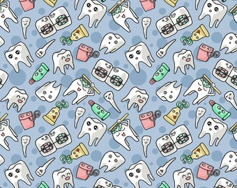 Teeth Fabric - Cutie Toothie By Amber Morgan - Teeth Tooth Braces Dentist Dental Kids Kawaii Cotton Fabric By The Yard With Spoonflower