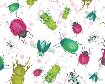Watercolor Insects Fabric - Beetle Late Than Never By Spottedpepperdesigns - Beetles Bugs Insect Cotton Fabric by the Yard with Spoonflower