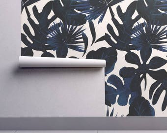 Navy Jungle Wallpaper - Tropical Leaves Midnight By Crystal Walen- Blue Custom Printed Removable Self Adhesive Wallpaper Roll by Spoonflower