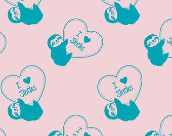 Sloth Love Fabric - I Heart Sloths By Zoel - Three Toed Sloth Heart Kawaii Valentine Pink Teal Cotton Fabric By The Yard With Spoonflower