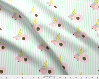 Watercolor Floral + Stripe Fabric - Single Flower With Stripes - Light Mint By Ajoyfulriot - Cotton Fabric By The Yard With Spoonflower