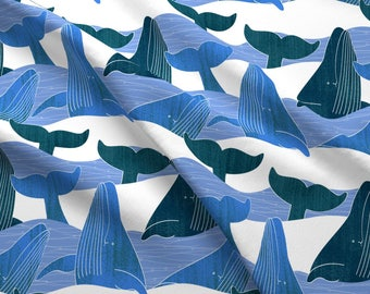 Breaching Whales Fabric - Whalesinwaves1 By Karismithdesigns - Nautical Summer Beach Decor Cotton Fabric By The Yard With Spoonflower