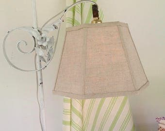 "Linen Uno Lamp Shade, Bridge Lampshade, Natural Color, Threaded Socket, Nice Texture, Standard size 7""t x 12""b x 8""high"