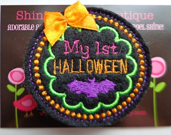 """Girls Hair Accessories - Black, Orange, Purple, Lime Green, And Hot Pink Embroidered Felt """"My First Halloween"""" Hair Clippie"""