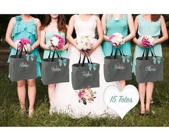 15 bridesmaid tote bags , bridesmaid gifts , tote bag , beach bag , bachelorette party gift ,wedding bag