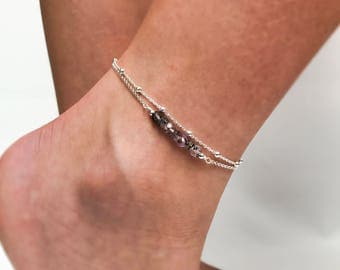 Super Seven Melody Stone Anklet - Double Chain Sterling Silver Anklet - Satellite chain anklet