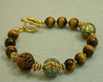Vintage Tigereye Shou Bead Carved Bracelet, Rare Vintage 1970s Chinese GOLD Champleve cloisonné beads,Vintage German Gold Glass-GIFT WRAPPED
