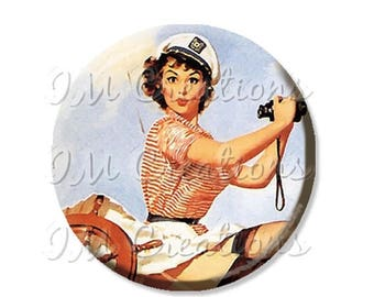 """25% OFF - Pocket Mirror, Magnet or Pinback Button - Wedding Favors, Party themes - 2.25""""- Vintage Pinup A Sharp Lookout MR248"""