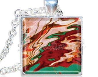 "20% OFF - Abstract Pattern 1"" Square Glass Pendant or with Necklace - SQ155"