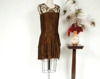 Memorial Weekend Sale - Vintage 1920s Dress - Stylish Brown Silk and Cutwork Floral Lace 20s Dress with Tiered Skirt and Drop Waisted Belt