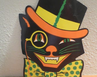 Cardboard Halloween cat / Vintage Halloween decor / Biestle Cat / Cardboard Cat with hat and bowtie