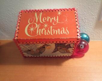 Vtg Victorian Style Greeting Christmas Card Box / handmade christmas card box / mid century christmas card box / lidded box