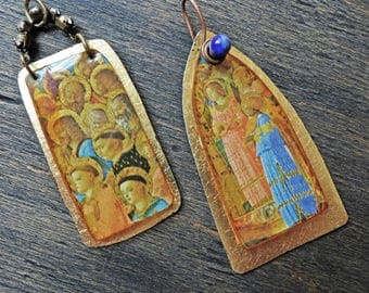 Handmade resin charm pendants with with gold leaf frames by fancifuldevices