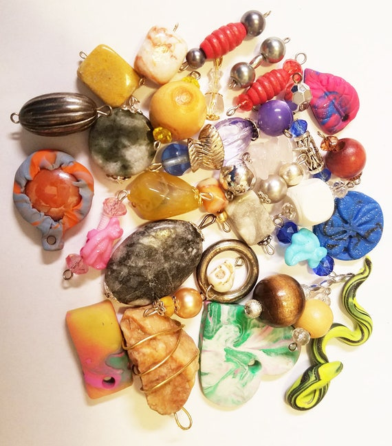 36 bead drops pendants charms clay stone mixed lot glass plastic beads jewelry craft supplies findings