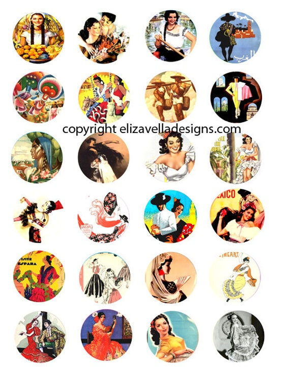 spanish mexican ladys flamenco dancers 1.5 inch circles collage sheet digital download graphics images craft printable