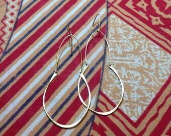 Simple hand wrought solid brass earrings