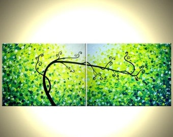 22% Off Original Tree Painting, Large Abstract Trees, Contemporary Fine Art, Green Yellow Landscape Lafferty 18x48