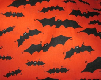 "Halloween Fabric--BATS--1 Yard--Orange Background With Black Bats--44"" by 36"""