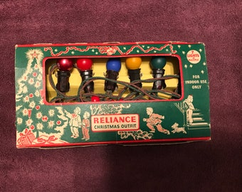 Vintage--1950's--Reliance--Christmas Tree Lights--7 Lights--No. 122--Working--With Original Box