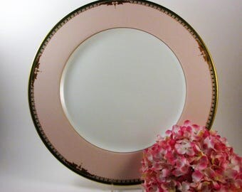 Vintage Mikasa Queen's Court Charger or Chop Plate Large Platter Pink Border Bone China