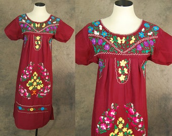 vintage 70s Mexican Peasant Dress - Boho Dark Red Embroidered Tent Dress Sz XS S M