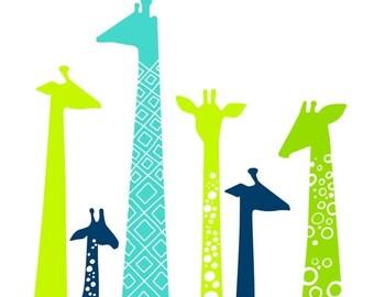 "SUMMER SALE 8X10"" modern giraffe silhouettes giclee print on fine art paper. lime, teal blue, navy, green."