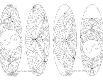 4 Printable Mandala Coloring Bookmarks -016-Oval Shape,Instant Download, Printable coloring bookmarks, Oval bookmarks, coloring bookmarks