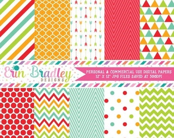 50% OFF SALE Digital Paper Pack Red Orange Green & Blue Stripes Chevron Polka Dots Triangles and Arrow Graphics Patterned Paper Set