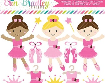 80% OFF SALE Pink Ballerinas Clipart, Instant Download Commercial Use Dance Clip Art Graphics
