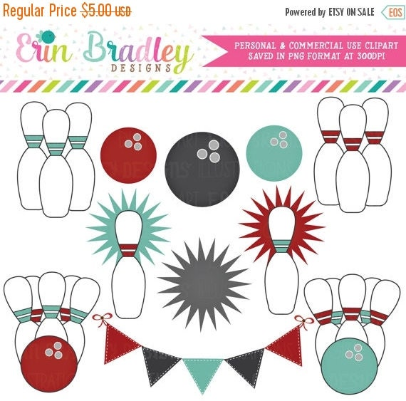 50% OFF SALE Bowling Clipart Clip Art Personal & Commercial Use