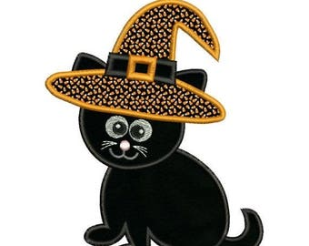 SALE 65% OFF Applique Halloween Cat Witch Hat Embroidery Designs 4X4 and 5X7 Included - Instant Download Sale