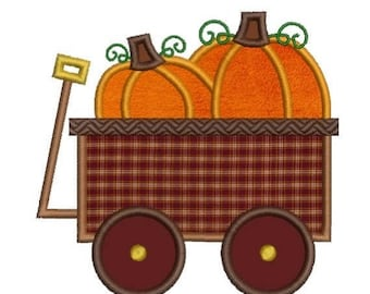 SALE 65% OFF Applique Pumpkin Wagon Fall Autumn Thanksgiving Halloween Embroidery Designs 4X4 and 5X7 Included - Instant Download Sale