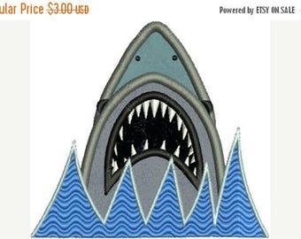SALE 65% OFF Jaws Shark Applique Machine Embroidery Designs 4x4 & 5x7 Instant Download Sale