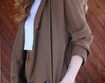 15% Memorial Day Wknd ... Brown Houndstooth Checkered Co ord Set Blazer and Shorts - Vintage 90s - SMALL S