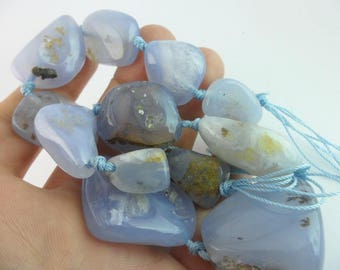 Full Strand Blue Chalcedony 20 To 40 Mm Gemstone Beads 15.5 Inches G23