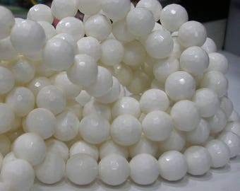 White Jade 12 Mm Disco Faceted Gemstone Beads 1 Strand G60