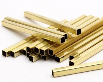Square Tube Beads - 25 Raw Brass Square Tubes (4x60mm) Bs 1594