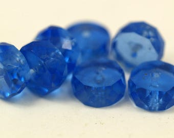 10 Vintage Glass Faceted Rondelle Blue Beads ( 12x6 Mm ) Cv17