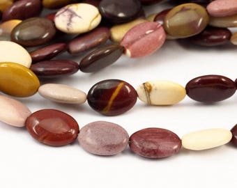 Moukaite Jasper 14 Mm Oval Gemstone Beads 15.5 Inches