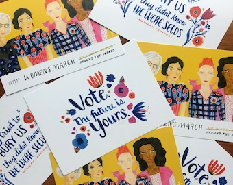 Mixed set of 21 Women's March postcards