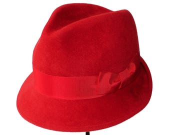 Fedora Hat Red Hat Red Fedora Hat Women's Hat Fall Fashion Red Felt Hat Fall Accessories Gift For Her Dress Hat Winter Accessories Holiday