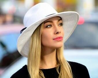 Wide Brim Fedora Hat Women's Sun Hat Men's Straw Hat Black Straw Hat Spring Fashion Fall Fashion Fall Accessory Boho Chic Fedora Hat