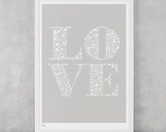 Love Screen Print, Love Wall Art, Valentines Day Gift, Love Wall Decor, Love Wall Poster, Love Illustrated Screen Print, Birthday Gift