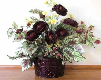 Eggplant Dark Plum and Yellow Silk Floral and Succulent Arrangement with Orchids, Ranunculous, and Begonias