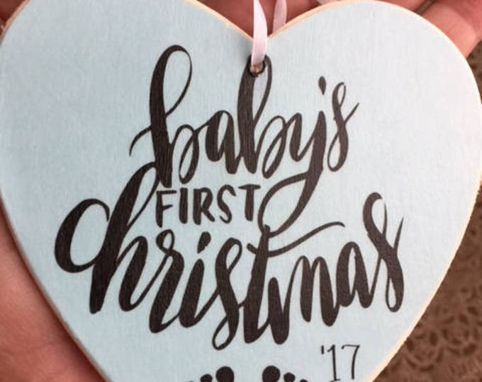 Baby's FIRST CHRISTMAS ornament new mommy new daddy gift handlettered style font baby footprints blue boys pink girls Beach House Dreams OBX